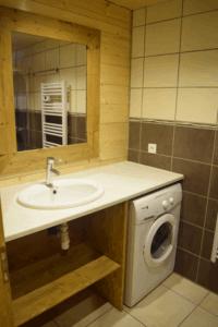 Salle de douche avec lave linge
